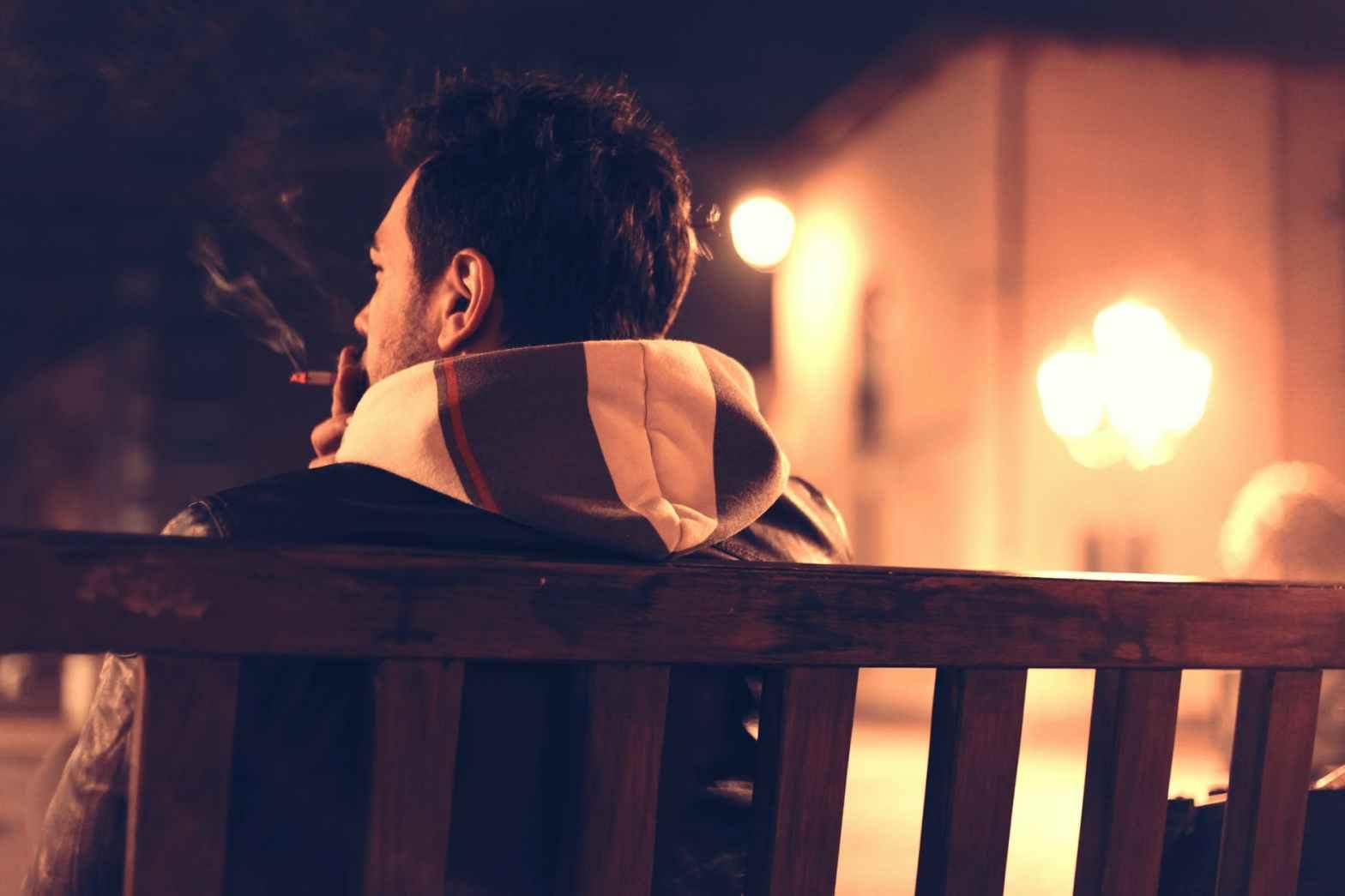 bench man person night